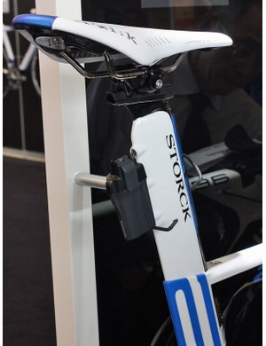 The Di2 battery is mounted behind the aero seatpost.