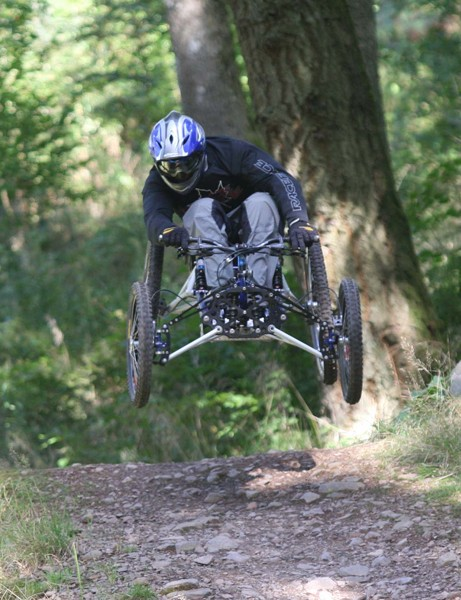 "Taking part in the Ae All Abilities Day, organised by Forestry Commission Scotland, is David Bower of the Rough Riderz. He's pictured on the ""Shredder"", part of the Ae trail, on his R-One Fourcross downhill bike"