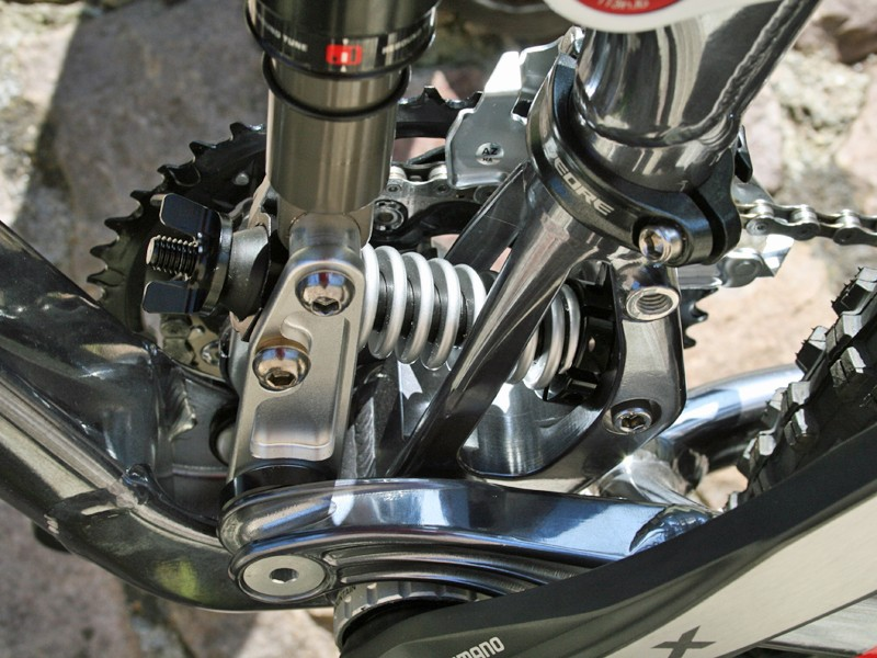Kona's Cadabra uses the company's Magic Link suspension system (the plastic wingnut shown here won't appear on production bikes)