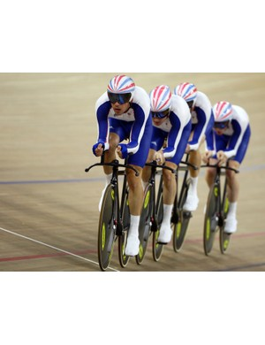 Ed Clancy, Paul Manning, Geraint Thomas and Bradley Wiggins of Great Britain compete in the men's team at the Beijing Olympics