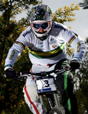 Specialized/Monster downhiller Sam Hill leads the World Cup heading into the final round this weekend in Austria.