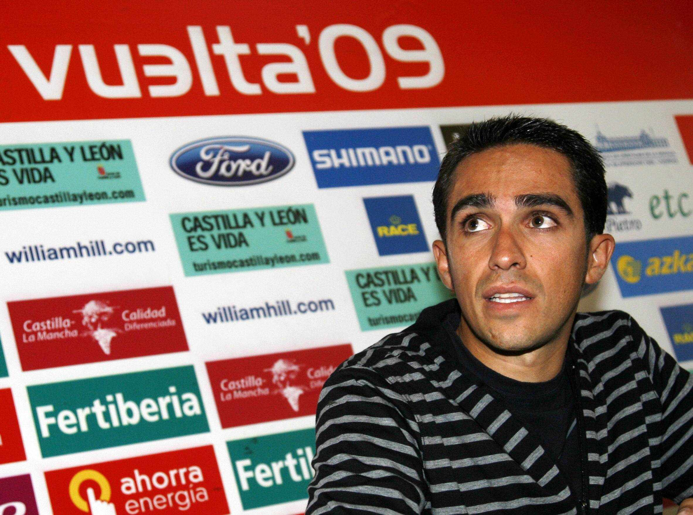 The world's number one ranked road racer and 2009 Tour de France winner Alberto Contador speaks during a press conference at stage 19 of the 2009 Tour of Spain, a race he won in 2008.