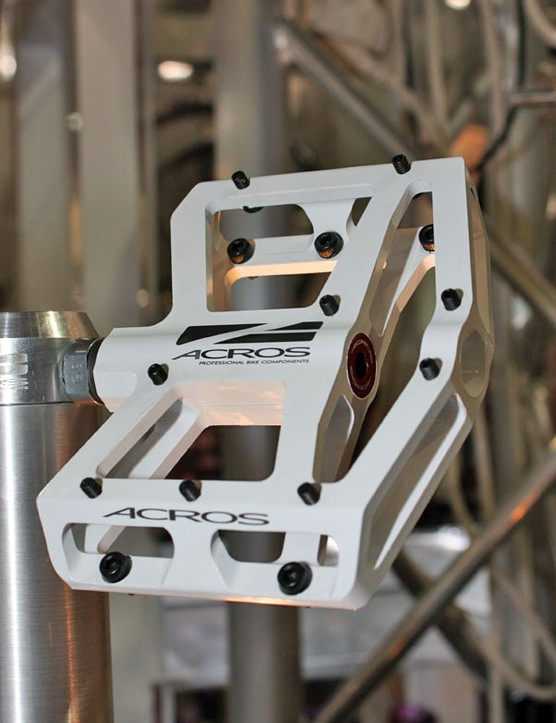 New for 2010 from Acros is this platform pedal with fore and aft pins that feed in from the back for easier replacement.