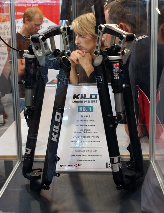 German A's Kilo forks offer just 90mm of travel but feature an anti-dive linkage and light weights.