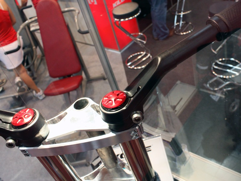 The independent handlebars clamp directly to the top of the stanchions.