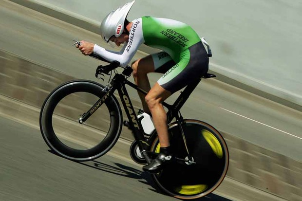 Northern Irish rider David McCann broke Chris Boardman's UK 25 mile record by 3 seconds (photo from the 2006 Commonwealth Games)