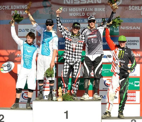 The final podium at Schladming