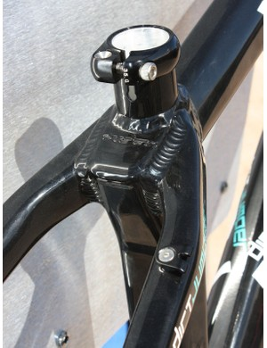 The top of the seat tube is shaped to provide more weld surface area for the stout seat stays.