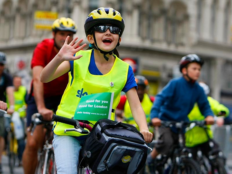 A girl participates in the Skyride on The Mall on September 20, 2009 in London, England