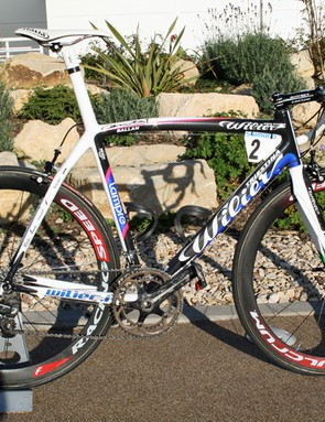 Wilier's UK distributors ATB Sales had two of 2008 world champion Alessandro Ballan's Cento Uno bikes on display at their 2010 launch
