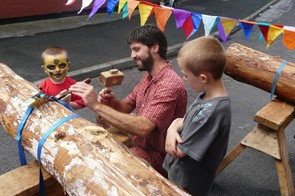 The whole community is involed in carving the poles