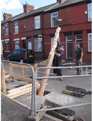The pole goes into the hole