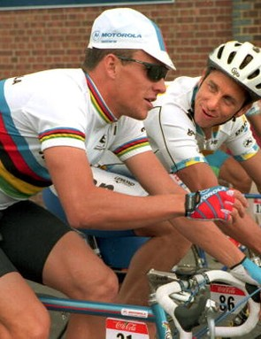 Armstrong and LeMond chatting during the 1994 Tour de France.