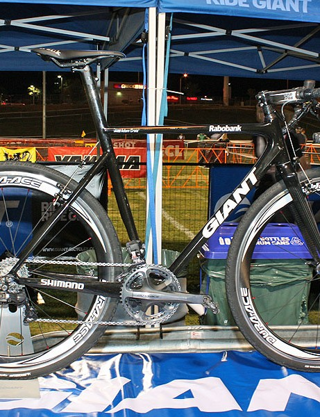 Giant showed off some early prototypes of a carbon 'cross frameset in development.