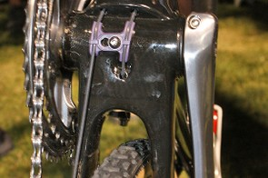 The derailleur cables exit the down tube just ahead of the press-fit bottom bracket.