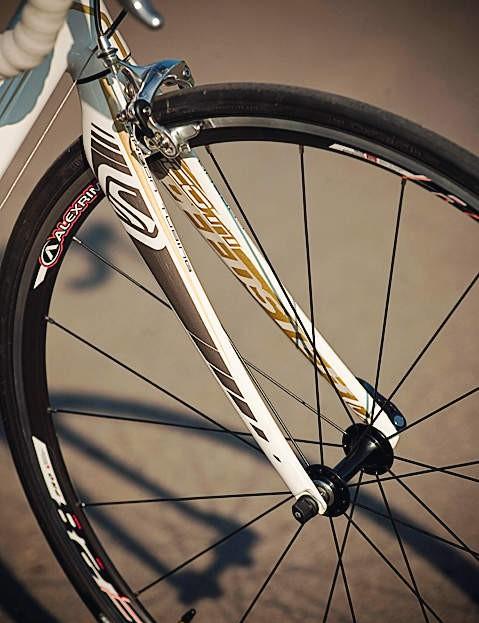 Carbon fibre forks compliment the frame