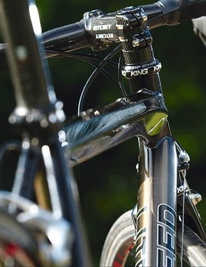 The polygonal top tube with its flared front end and tapered tail is the obvious standout frame piece