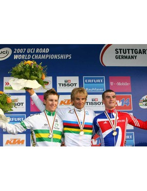 Bellis on the world's podium in 2007 after finishing third in the U23 men's road race