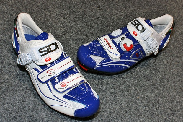 The Sidi Genius 6.6 Carbon Lite and Dragon 2 Carbon shoes will both be available in a striking white and blue Vernice finish.