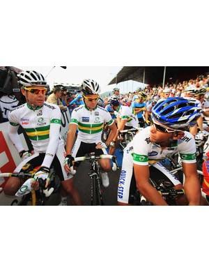 The Aussie team at the start: Cadel Evans, Stuart O'Grady and Allan Davis