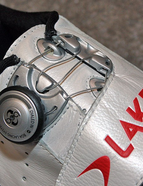 The trick Boa lacing hardware allows for zone-specific tightness just by doubling up the cable loops.
