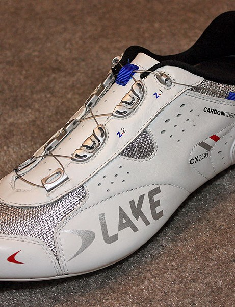 New for 2010 is the Lake CX236 road shoe with a carbon fibre sole and heel-mounted Boa closure system.