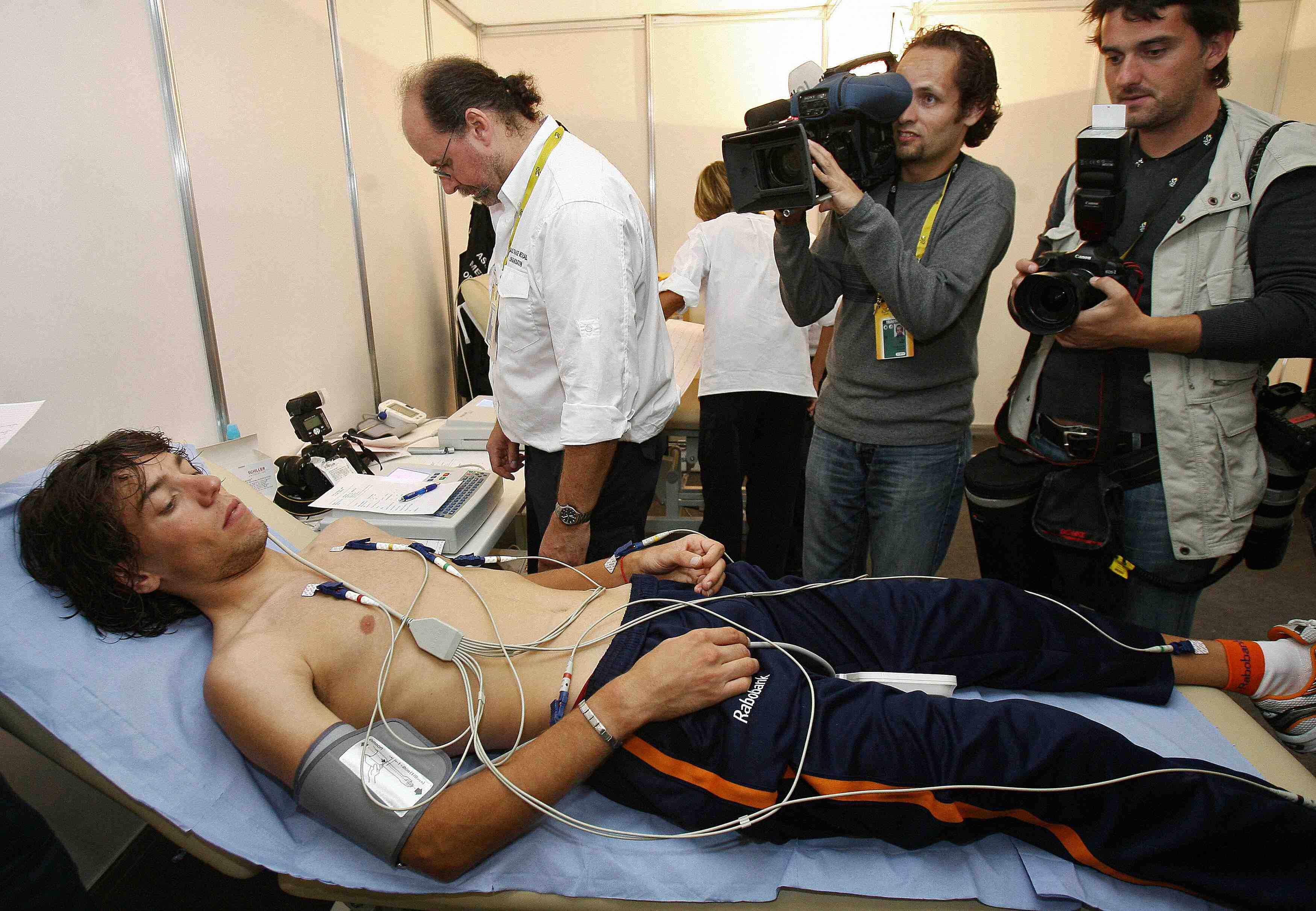 Thomas Dekker undergoes the traditional medical check up at the London Excel Exhibition Center, two days before the official start of the 2007 Tour de France.