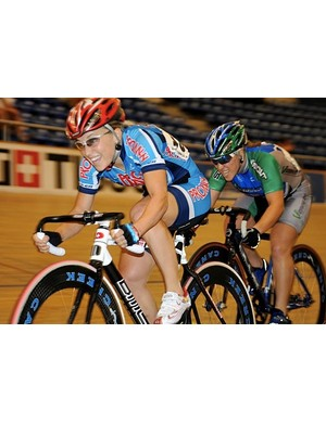 Shelly Olds (L) is one of more than 300 of the nation's top track cyclists set to contest the USA Cycling Elite Track National Championships in California this week.