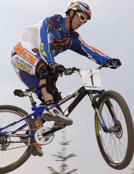 Brian Lopes training in Fort William for a round of the world cup in 2003