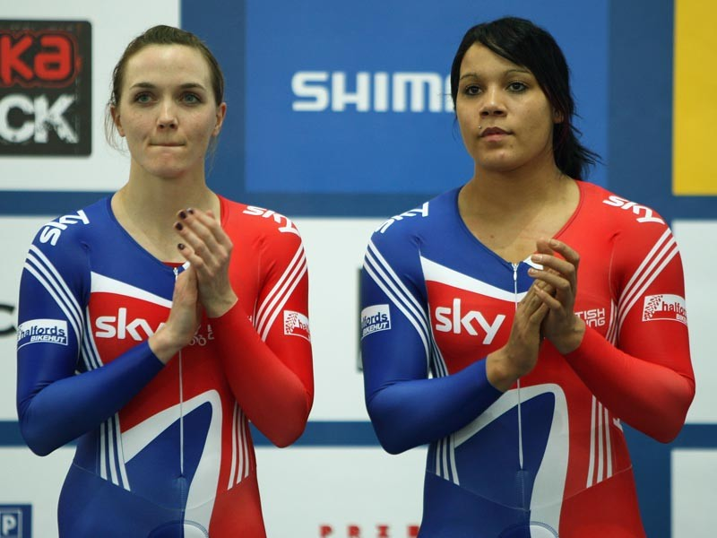 Team GB riders Victoria Pendleton (left) and Shanaze Reade finished second in the Women's Team Sprint during the UCI Track Cycling World Championships at the BGZ Arena on March 26, 2009 in Pruszkow, Poland - meet them at the Cycle Show 2009