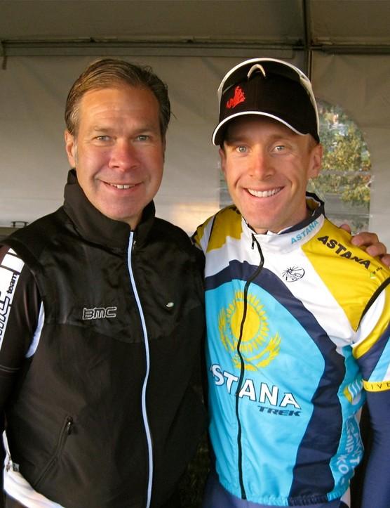 Team BMC Racing's Jim Ochowicz with Levi Leipheimer before the start of the King Ridge GranFondo October 3, 2009.