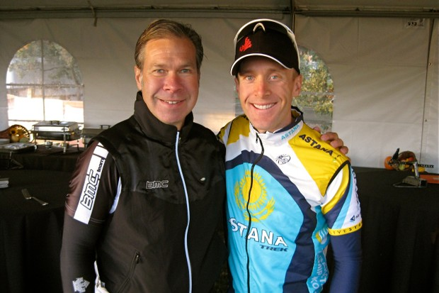 Team BMC Racing's Jim Ochowicz with Levi Leipheimer before the start of the King Ridge GranFondo October 3, 2009.