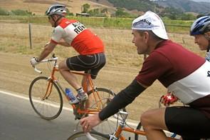 Chuck Canepa, Brian Fessenden and Joe Breeze cruise along Nicasio Valley Road toward Marshall.