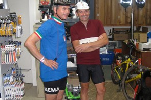 Dino Ride founder Tom Hardy (L) and Brian Fessenden wait eagerly for the Richard Sachs to be repaired.