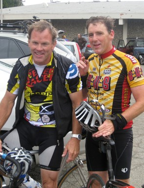 Former national champions Chris Springer (L) and Calvin Trampleasure after the ride September 13, 2009.