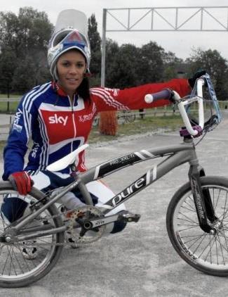 Shanaze with her 2010 Pure Bicycles titanium BMX