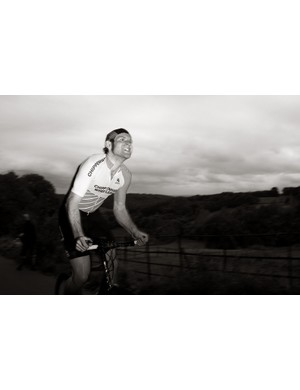 Eventual winner Rob Gough puts everything into it on his custom bike