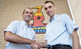 Raleigh UK's Geoff Giddings (L) welcomes Chris Truett as team manager.