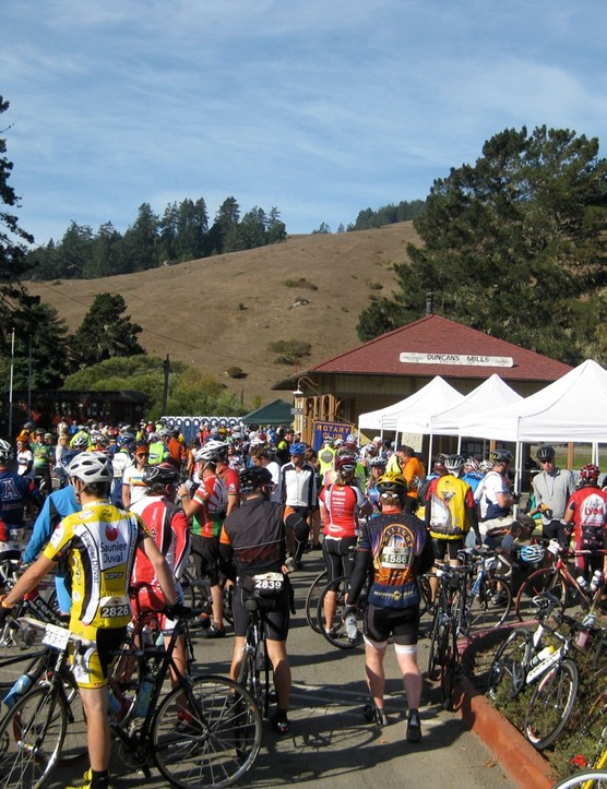 The first rest stop was well attended and fully stocked by enthusiastic volunteers, including a local Girl Scout troop