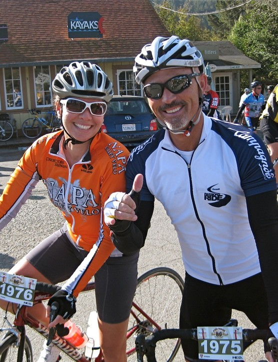 Bike industry veterans Sara Eccelsine (Sidi USA) and Tom Kattus (Campagnolo North America) prepare for more fun in Sonoma County after the first rest stop