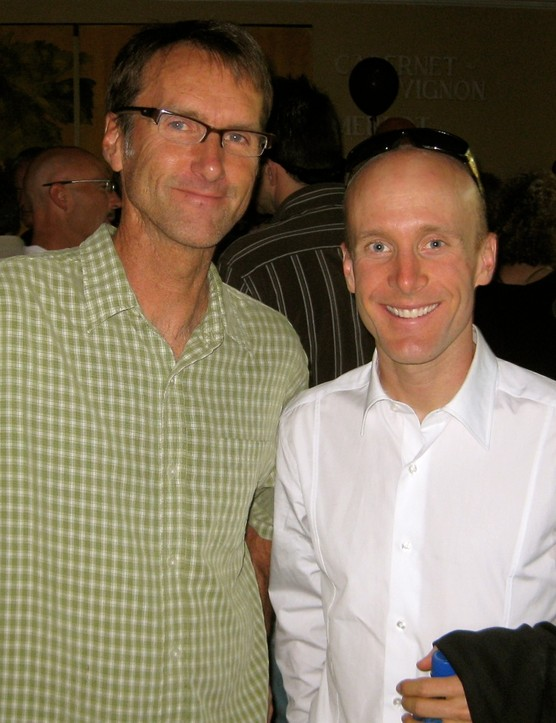Santa Rosa residents Scot Nicol (Ibis Cycles) and Levi Leipheimer enjoy some social time at the VIP party the night before the GranFondo