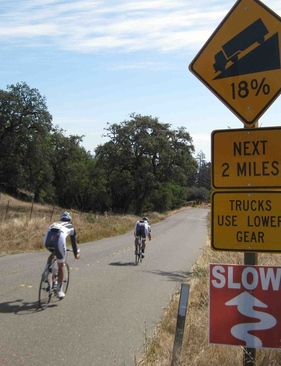 Yes, 18 percent was the average going up Meyer's Grade Road, but boy it felt good going down the other side