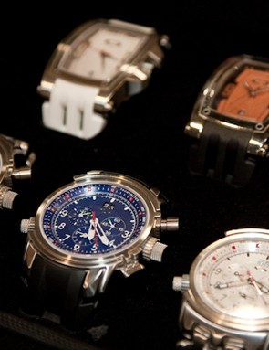 New for 2010 are the 12-Gauge (bottom row) and Warrant watches, both available in a variety of colour and band options