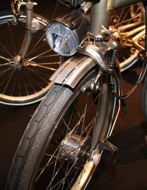 The Schmidt SON front dynamo hub with B&M LED lamp will power all your lighting needs on a Brompton