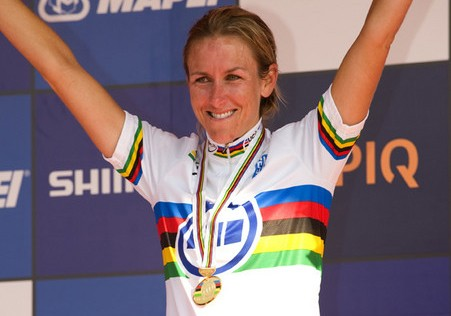 Idaho native Kristin Armstrong on the 2009 world time trial podium in Switzerland.
