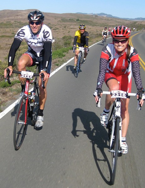 Riders enjoyed a swift tailwind down Highway 1