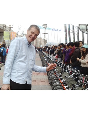 Mark Sanders with fans of his Strida folding bike