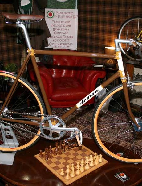 This wooden themed steel fixie was the centrepiece of Demon Frameworks' stand at the Cycle Show