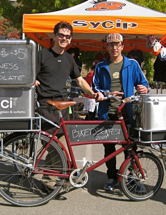 Cici co-owner Michael Orlandi (L) and his custom, hand-built Sycip gelato bicycle with Jeremy Sycip at Biketoberfest 2009 in Fairfax, CA on October 10.
