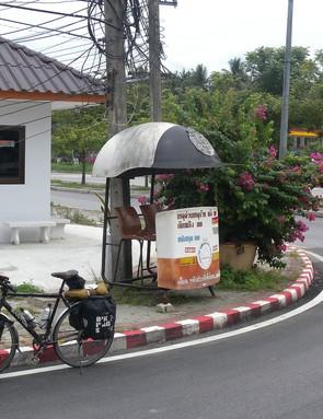 Giant fibreglass police helmet/roadside shelter, Bang Saphan, Prachuap Khiri Khan, Thailand